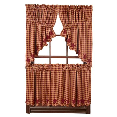 curtains 24 x 36 burgundy star scalloped curtain tiers 36 quot w x 24 quot l
