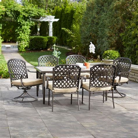7pc patio dining set hton bay marysville 7 patio dining set with beige