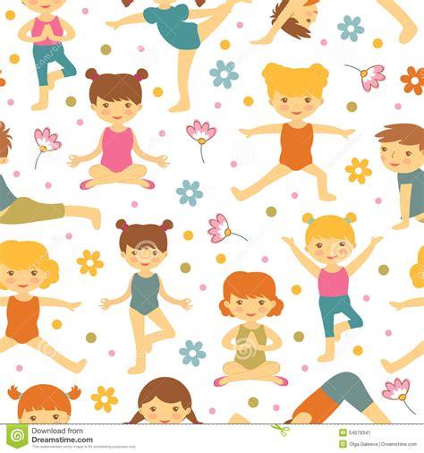 cute kid pattern cute yoga kids seamless pattern stock vector