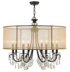 drum shade chandeliers crystorama hton 8 light drum shade bronze chandelier