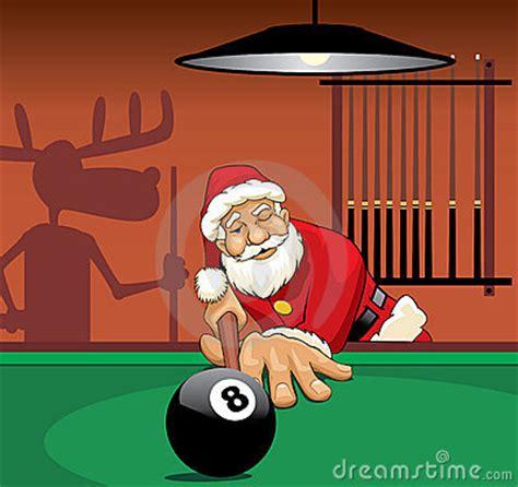 santa claus playing pool royalty  stock  image