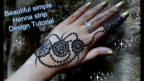 how to apply easy simple strip bail henna mehndi designs