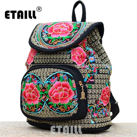 Embroidery Canvas Backpack national trend ethnic canvas embroidery backpack