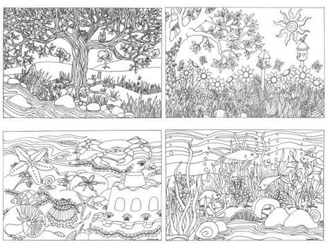 printable coloring pages nature scenes printable set of 4 assorted nature scenes by