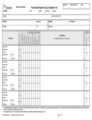 ontario report card template provincial report card fill printable fillable