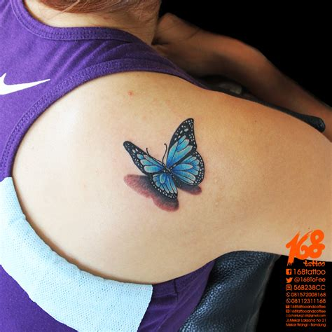 blue butterfly tattoo 3d blue butterfly on shoulder by chanlung at 168