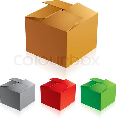 box color vector illustraion of closed color cardboard boxes with