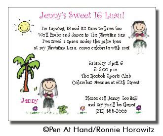 Luau Theme Personalized Party Invitations By The