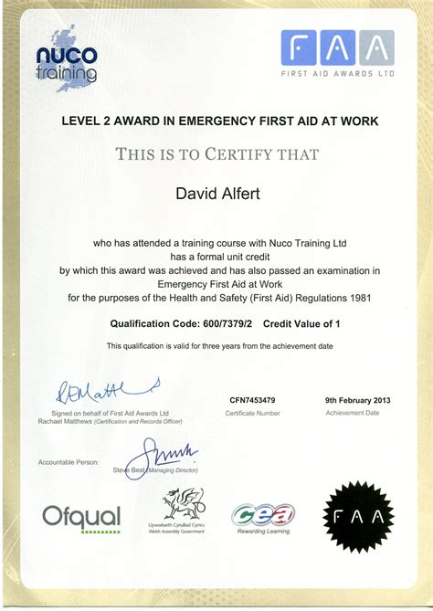 6 best images of first aid certificate printable first