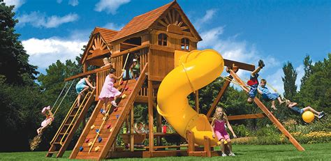 cubby house with slide and swings wooden play centres ladders slides swings climbing