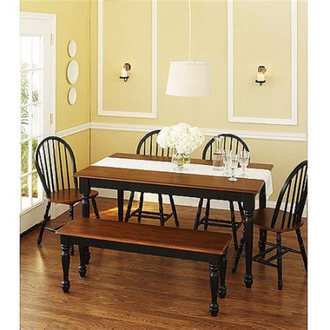 Better Homes And Gardens Dining Table Better Homes And Gardens Autumn Farmhouse Dining Table Black And Oak Walmart