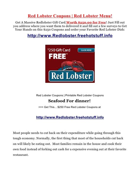 Where Can I Use A Red Lobster Gift Card - red lobster coupons and red lobster menu recommendations