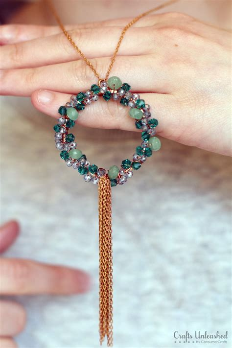 diy beaded jewelry wreath necklace tutorial step by step crafts unleashed
