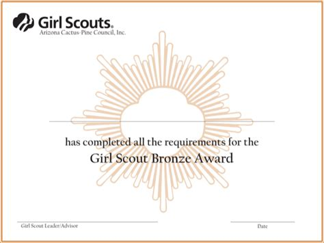 download girl scout bronze award certificate for free