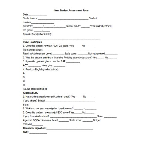 Free Assessment Forms Teacheng Us