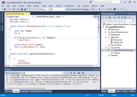 tutorial python package developing c python modules for cygwin visualgdb tutorials