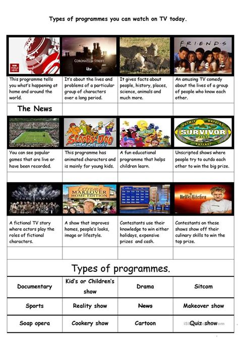 types of sheets types of current popular tv programmes worksheet free