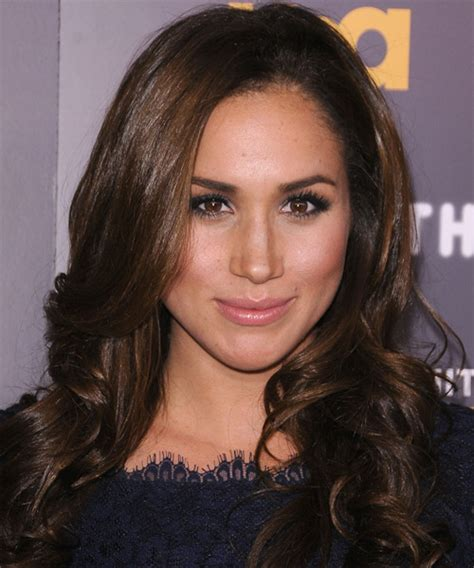 Meghan Markle Long Wavy Formal Hairstyle   Medium Brunette