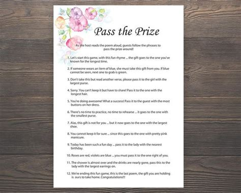 Pass The Prize Baby Shower Poem by Pass The Prize Baby Shower Baby Shower Rhyme