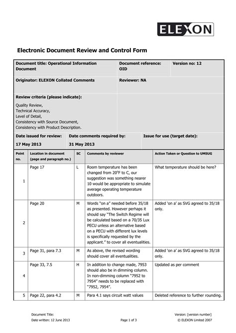 review form template 14 forms for document reviews