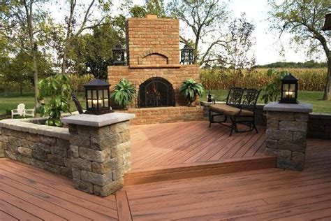 Outdoor Fireplace On Wood Deck by Columbus Oh Tailgate Effect Backyard Patio Designs