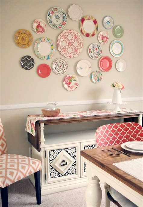 cheap kitchen wall decor ideas plastic plate wall hack hometalk