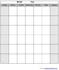 monday through friday monthly calendar template blank