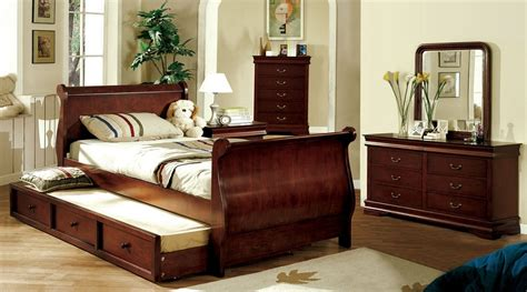 twin size sleigh bed louis philippe jr dark cherry finish twin trundle