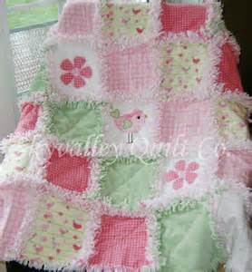baby rag quilt green yellow and pink baby birds