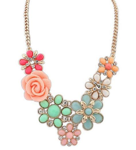 Kalung Fashion Choker Waterdrop Shape Pendant Flower Chain buy wholesale crochet flower necklace from china