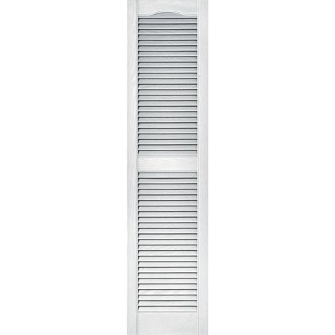 pinecroft 15 in x 59 in louvered shutters pair builders edge 15 in x 60 in louvered vinyl exterior