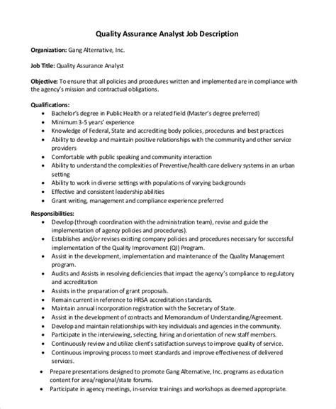 Quality Analyst Description sle resume for quality analyst in call center resume of quality analyst free resume exle and