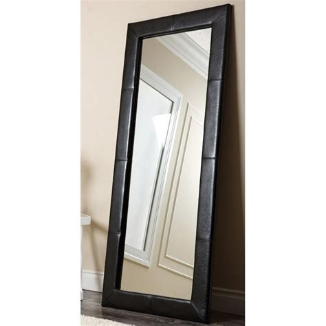 abbyson living blaketon leather floor mirror in black hs