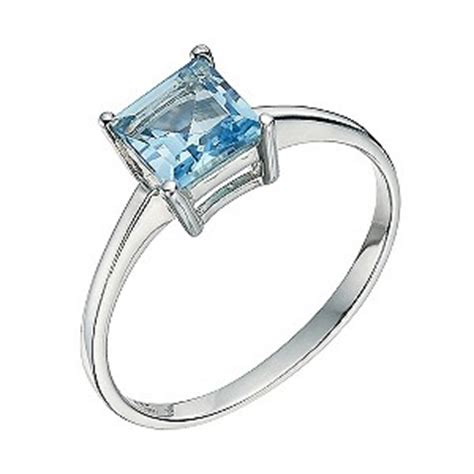 silver and blue topaz princess cut ring size p product