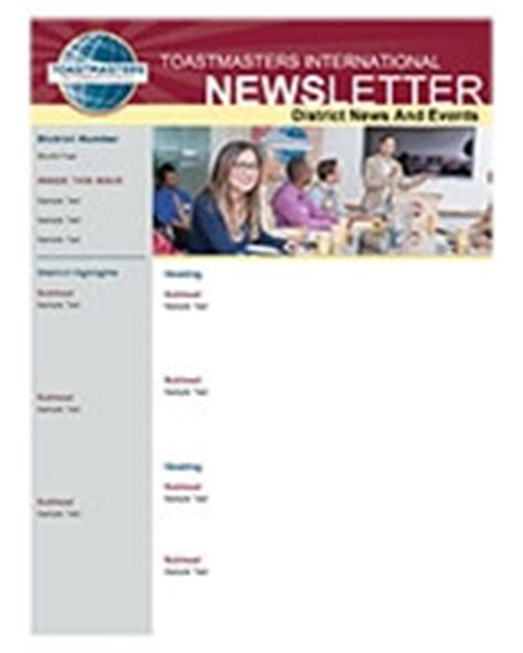 Toastmasters International Resource Library Toastmasters Newsletter Template