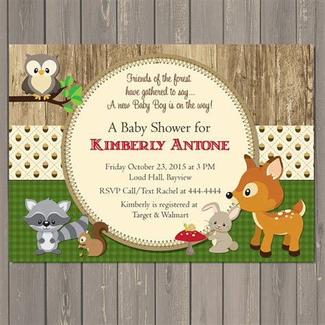 Office Depot Hours Woodland Woodland Baby Shower Invitations Forest Animals Shower