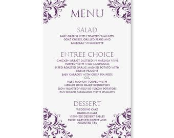 Wedding Menu Card Template Download Instantly Edit Yourself Nadine Plum 4 X 7 Free Wedding Menu Templates For Microsoft Word