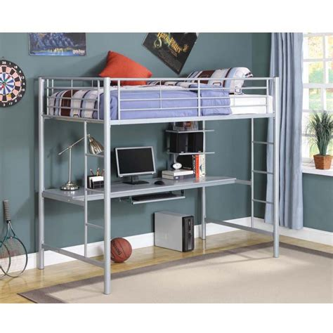 twin metal loft bed walker edison metal twin loft bed with workstation silver