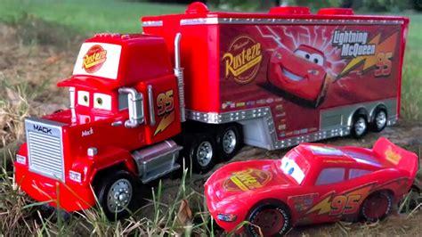 disney pixar cars mack hauler and lightning mcqueen ride along to nursery rhymes in real
