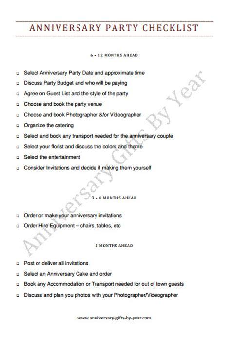 Wedding Anniversary Planning 50th wedding anniversary planning checklist