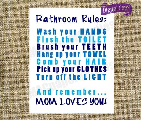 bathroom rules for kids instant download bathroom rules print art digital