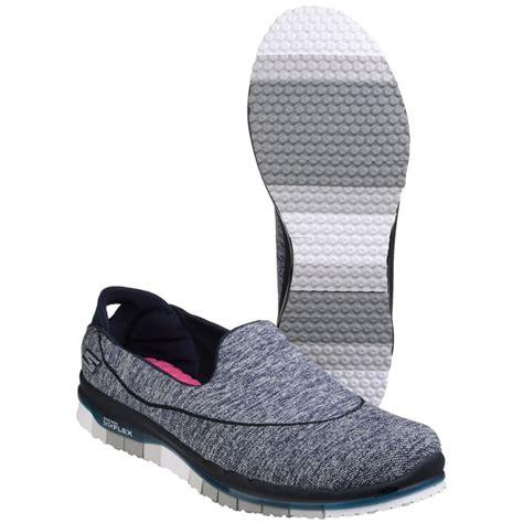 skechers go flex slip on sports shoe s navy grey