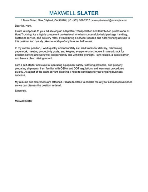 transportation cover letter examples livecareer