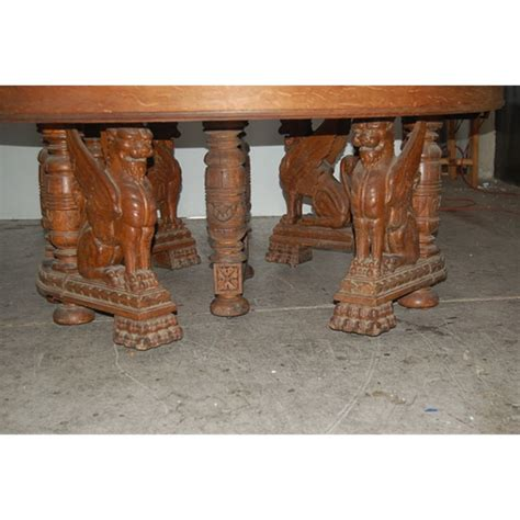 Antique Carved Figural Winged Griffin Oak Dining Table For Antique Dining Tables For Sale