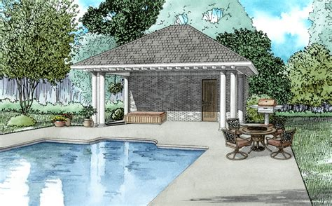 Pool House Plans With Garage by Poolhouse Plans 1495 Poolhouse Plan With Bathroom