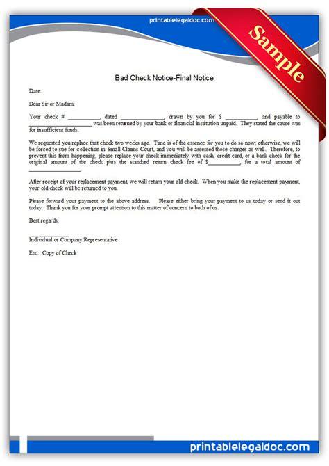 Free Printable Bad Check Notice Final Notice Form (GENERIC)