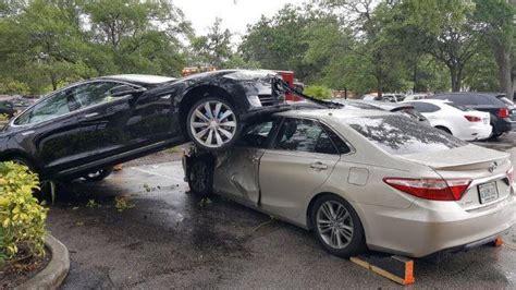 Tesla Florida Tesla Model S Mounts A Toyota Camry In Florida Damages