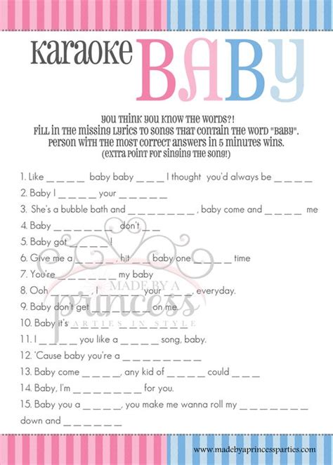 printable karaoke lyrics free gender reveal baby shower games from made by a