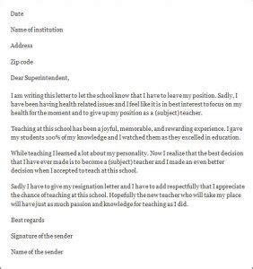Contract Letter Format For Teachers format of resignation letter for best resume gallery