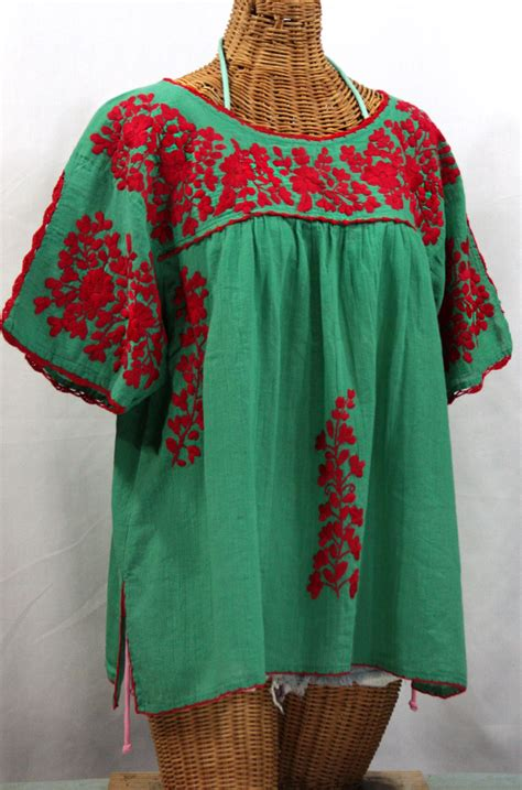 Blouse By Liblre quot lijera libre quot plus size embroidered mexican blouse green